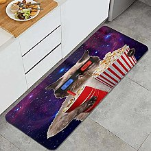 SUHETI Kitchen Rug,Cat with Popcorn and Drink