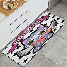 SUHETI Kitchen Rug,Cat with star glasses on the