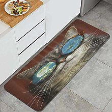 SUHETI Kitchen Rug,Cats with Glasses Moon