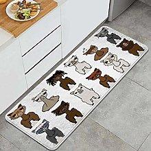SUHETI Kitchen Rug,Charismatic Alpacas with