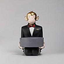 SUHETI Resin Monkey Waiter Storage Figurine,