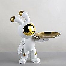 SUHETI Resin Space Rabbit Storage Figurine,