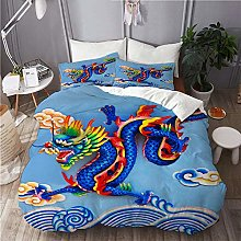 SUHOM bedding-Duvet Cover Set,blue chinese dragon