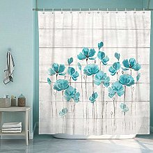 SUMGAR Teal Flower Turquoise Shower Curtain for