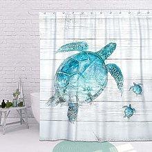 SUMGAR Turtle Shower Curtain Teal Sea Turtle Beach