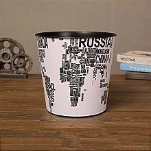 SUMHOM Large retro wrought iron trash can,