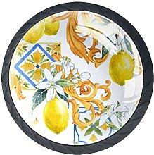 Summer Fruit Lemon Flowers Cabinet Door Knobs