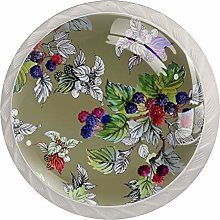 Summer Mulberries 4pcs Glass Cupboard Wardrobe