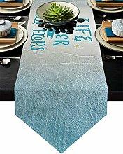 Summer Seaside Plumeria Table Runner Dresser