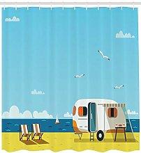 不适用 Summer Shower Curtain Coastline Clouds