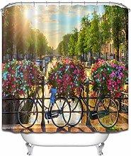 Summer Sunrise River Bicycle Flowers Waterproof
