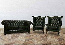 Summersville Chesterfield 3 Piece Leather Sofa Set