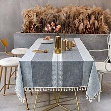 SUNBEAUTY Grey Table Cloths Cotton Linen 140x180