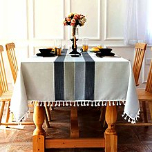 SUNBEAUTY Grey Table Cloths Rectangular Cotton