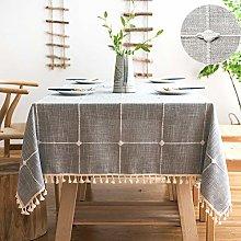 SUNBEAUTY Square Table Cloth Cotton 140x140 Linen