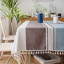 SUNBEAUTY Table Cloth Cotton Linen 140x220 Heavy