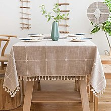 SUNBEAUTY Table Cloth Cotton Linen Checked 140x180