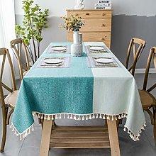 SUNBEAUTY Table Cloth Cotton Linen Green