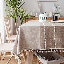 SUNBEAUTY Table Cloths Oblong Cotton Linen 140x180