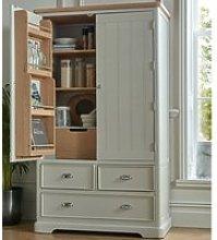 Sunburst Wooden Kitchen Storage Cabinet In Grey