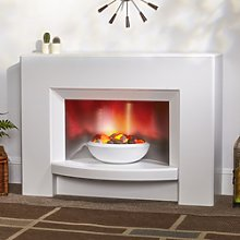Suncrest Stockeld White Electric Fireplace Suite