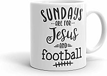 Sundays are for Jesus and Football Funny Coffee