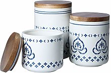 Sunddo Ceramic Canister Set with Bamboo Lid