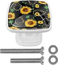 Sunflower Black 4pcs Crystal Glass Cabinet Knobs