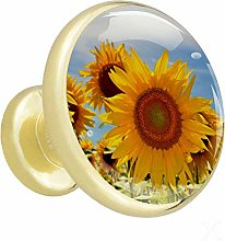 Sunflower Blooming Yellow Cabinet knobs Gold knobs