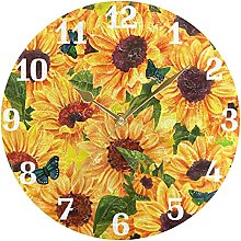 Sunflower Butterfly Floral Wall Clock Silent Non