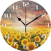 Sunflower Field Floral Wall Clock Silent Non