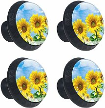 Sunflower Field with Cloudy Blue Sky Drawer Handle