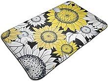 Sunflower Illustration Bath Mat Door Mats Rug