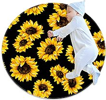 Sunflower, Kids Nursery Rug Play Mat Round Carpet