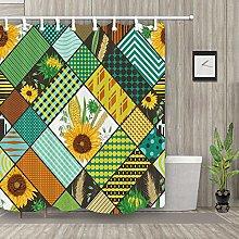 Sunflower Mondrian Style Fabric Shower Curtain