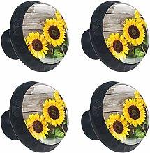 Sunflower On Wooden Board Drawer Pulls Handles