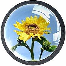 Sunflower Pattern Drawer Round Knobs Cabinet Pull