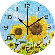 Sunflower Plant Wall Clock Quartz Analog Quiet,