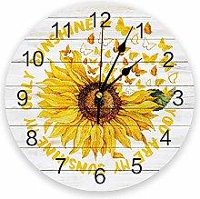 Sunflower Silent Non Ticking Wall Clock, Battery