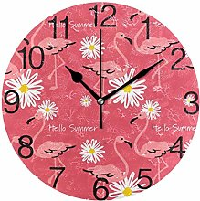 Sunflower with Flamingos Round Wall Clock, Silent