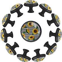 Sunflower with Stripe Yellow Flower 12PCS Round