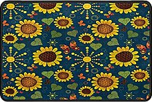 Sunflowers Butterfly Doormat Rug Easy to Clean Non