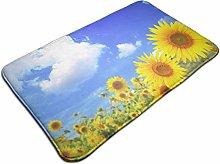 Sunflowers On Blue Sky Background Bath Mat