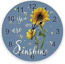 Sunflowers PVC Wall Clock, Silent Non-Ticking