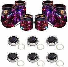 Sunlane 6 Pack Solar Mason Jar Lights, 10 Led