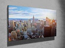 Sunlit view of New York Skyline framed canvas