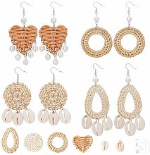 SUNNYCLUE DIY 4 Pairs Rattan Shell Earrings