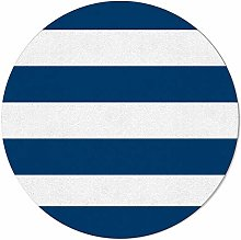 SunnyM Round Area Rugs 3 ft Navy Striped Soft