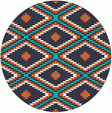 SunnyM Round Area Rugs 4 ft, Aztec Traditional