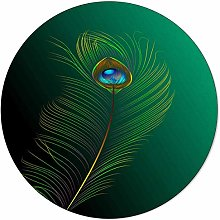 SunnyM Round Area Rugs 4 ft Fashionable Peacock